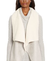 Lauren by Ralph Lauren | Gray Faux Fur And Faux Suede Vest | Lyst