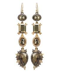 Alexis Bittar | Metallic Crystal Studded Chandelier Gold-plated Earrings With Pyrite - Multicolor | Lyst