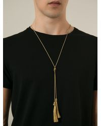 Saint Laurent - Metallic Tassel Necklace for Men - Lyst