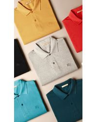 Burberry - Orange Check Placket Polo Shirt for Men - Lyst