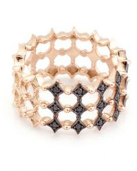 Kismet by Milka | Metallic 3 Row Black Diamond Ring in Rose Gold | Lyst