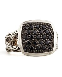 John Hardy - Metallic Classic Chain Small Cushion Woven Ring Black Sapphire for Men - Lyst