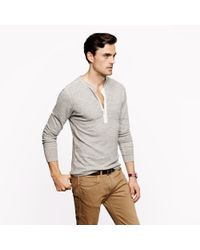 J.Crew | Gray Homespun Knitwear Coalminer Contrast Henley for Men | Lyst