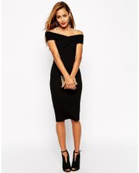 ASOS | Black Bodycon Dress With Bardot Shoulder And Cross Front Detail | Lyst