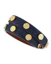 Tory Burch | Blue Logo-Studded Denim Wrap Bracelet | Lyst