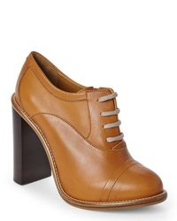 Chloé | Brown Chlo㉠Leather Oxford Booties | Lyst