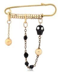 Maria Zureta | Metallic Black Skull Bronze Safety Pin | Lyst