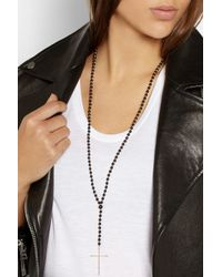 Diane Kordas - Black Rosary 18karat Rose Gold Onyx and Diamond Necklace - Lyst