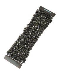 Fragments | Metallic Gunmetal Rhinestone Bracelet Wtih Box | Lyst