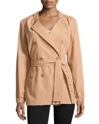 Michael Kors - Orange Gathered-neck Belted Trench Coat - Lyst