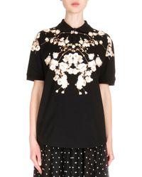 Givenchy - Black Short Sleeve Floral-print Polo Shirt - Lyst