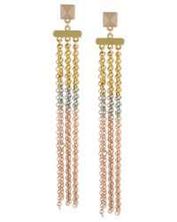 Steve Madden - Metallic Tri-tone Chain Linear Earrings - Lyst