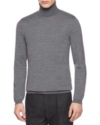 Gucci - Gray Fine Wool Knit Roll-Neck Sweater for Men - Lyst