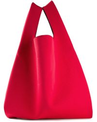 MM6 by Maison Martin Margiela | Red Perforated Cotton Bucket Tote | Lyst