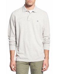Vineyard Vines - Natural Long Sleeve Pique Knit Polo for Men - Lyst