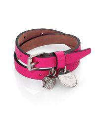 Alexander McQueen | Pink Leather Skull Wrap Bracelet | Lyst