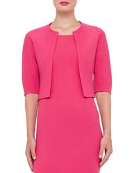 Akris - Pink Wool Crepe Half-sleeve Bolero - Lyst