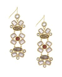 Cole Haan | Metallic Green Amethyst, Labradorite And Rose Quartz Dramatic Drop Earrings | Lyst