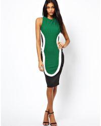 ASOS   Green Texture Silhouette Dress   Lyst