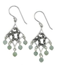 Lord & Taylor | Green Marcasite And Jade Chandelier Earrings | Lyst