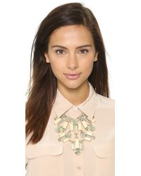 kate spade new york - Metallic Centro Tiles Statement Necklace Light Wood Multi - Lyst