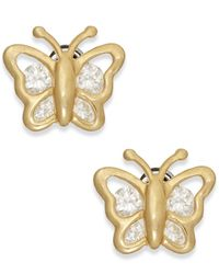 Macy's | Metallic Cubic Zirconia Butterfly Stud Earrings In 10k Gold | Lyst