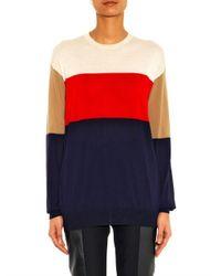 Céline - Blue Colour-Block Cashmere Sweater - Lyst