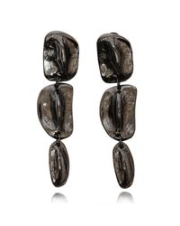 Rachael Ruddick | Metallic Cold Cast Crocodile Long Drop Earrings Onyx | Lyst