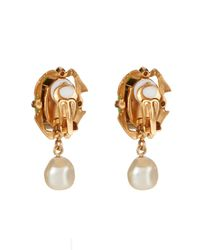 Dolce & Gabbana | Metallic Pearl-Embellished Cameo Clip-On Earrings | Lyst