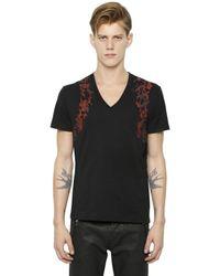Alexander McQueen - Black Harness Printed Cotton V-neck T-shirt for Men - Lyst