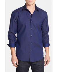 Bugatchi - Blue Shaped Fit Stripe Sport Shirt for Men - Lyst