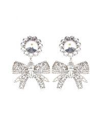 Miu Miu - Gray Crystalembellished Clipon Earrings - Lyst