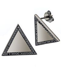 Alexa Leigh | Large Triangle Earring, Black Diamonds | Lyst