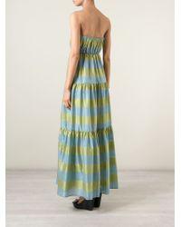 Erika Cavallini Semi Couture   Blue Strapless Striped Dress   Lyst
