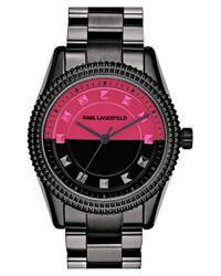 Karl Lagerfeld - Black Studded Bezel Bracelet Watch - Lyst