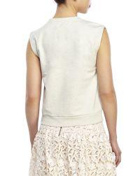 Alice + Olivia - Natural Beryl Sleeveless Embellished Sweatshirt - Lyst