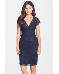 JS Collections | Blue Layered Lace Sheath Dress | Lyst