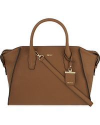 DKNY | Brown Chelsea Large Leather Satchel, Women's, Dk Camel | Lyst