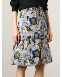 Opening Ceremony - Gray Palm Tree Print Skirt - Lyst