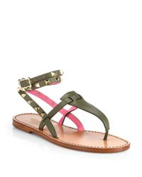 Valentino - Green Rockstud Wrap-around Strap Leather Thong Sandals - Lyst