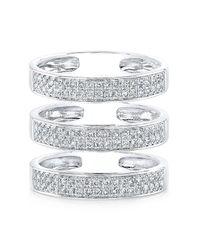 Anne Sisteron - Metallic 14kt White Gold Diamond Large Triple Bar Ring - Lyst