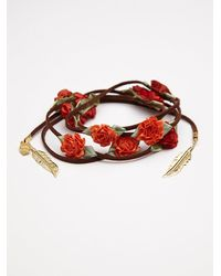 Free People - Orange Floral Braid Ins - Lyst