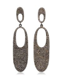 Bavna - Metallic Sterling Siliver Earrings With Pave Diamonds - Lyst