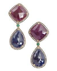 Amrapali - Multicolor Diamond, Ruby And Emerald Drop Earrings - Lyst