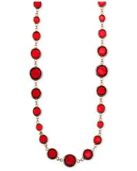 Anne Klein | Red Faceted Stone Long Necklace | Lyst