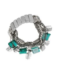 Kenneth Cole | Blue Silvertone Chain Stone and Bead Stretch Bracelet | Lyst