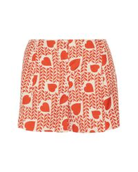 Stella McCartney - Red Marit Printed Silk Shorts - Lyst