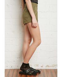 Forever 21 - Green Cuffed-hem Cotton Shorts - Lyst