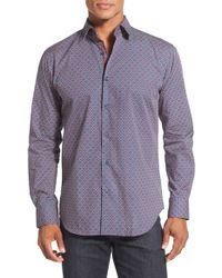 Bugatchi - Purple Shaped Fit Long Sleeve Geo Pattern Sport Shirt for Men - Lyst