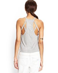 Forever 21 - Gray Caged Back Tank - Lyst